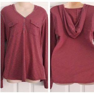 Kuhl Womens Purple 1/2 Buttoned Hooded Shirt